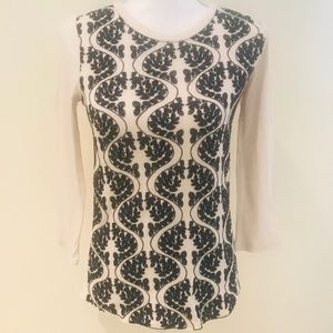 J crew embroidered 100% cotton long sleeve top